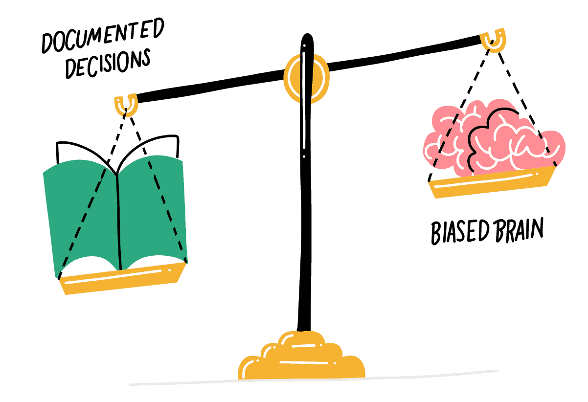 Illustration of a balance holding a notebook of documented decisions, outweighing a brain biased by hindsight