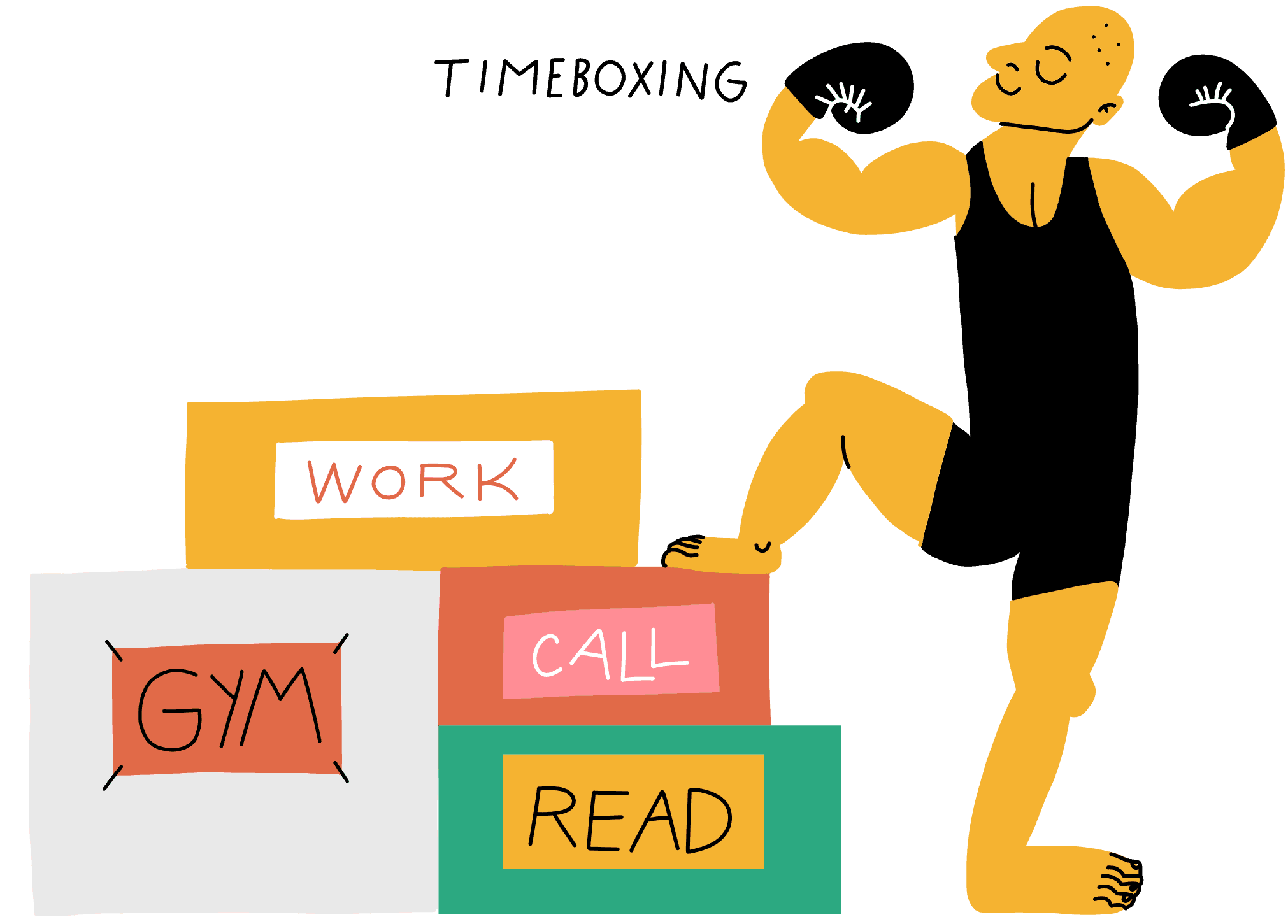 A man standing next to boxes containing his time allocations: work, gym, reading, etc.